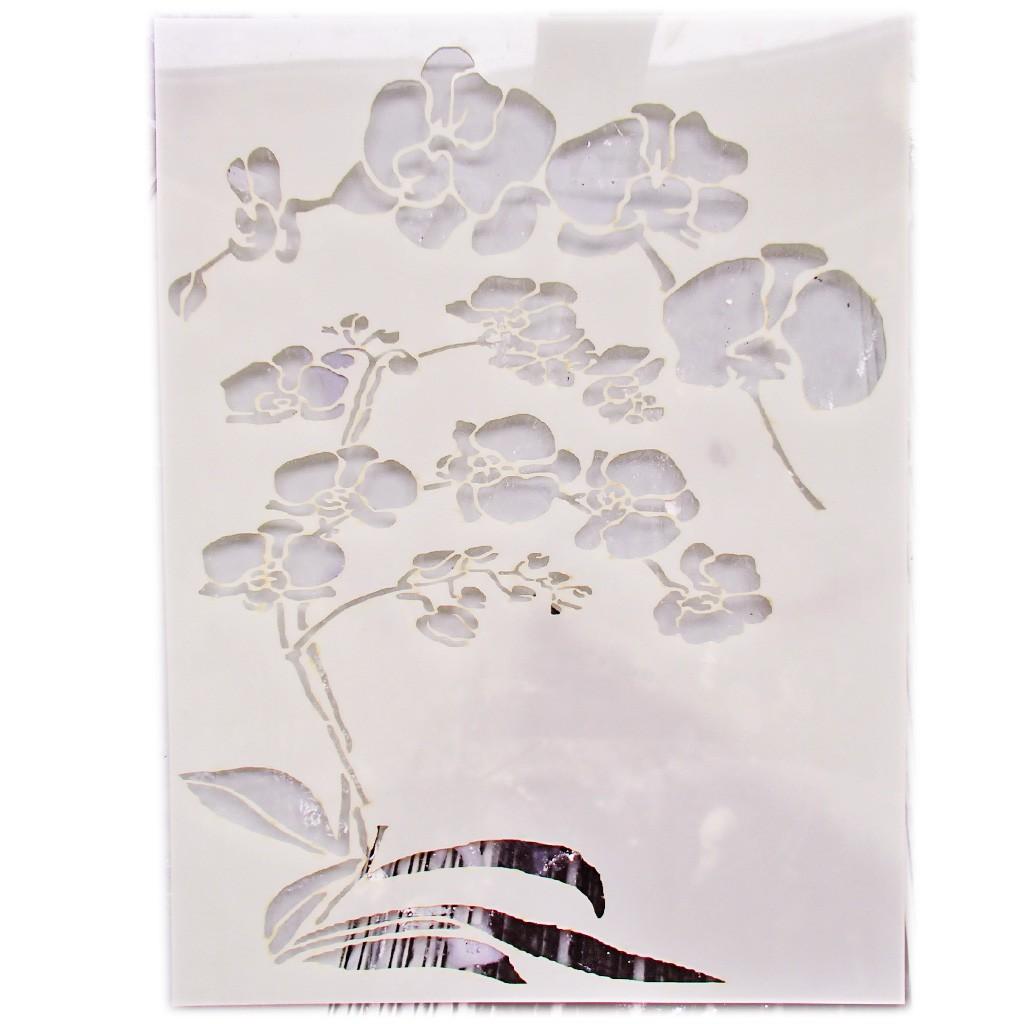 tableau qu 39 aux pochoirs des orchid es id esd copeinture. Black Bedroom Furniture Sets. Home Design Ideas